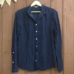 J.Crew Button Down Blue Polka Dot Women's Small